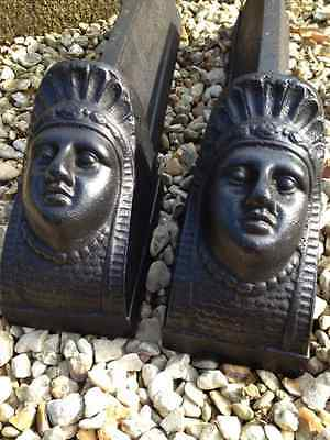 Antique French 19C Cast Iron Andiron Pair Sphinx Egyptian Revival Fire Dogs Bust