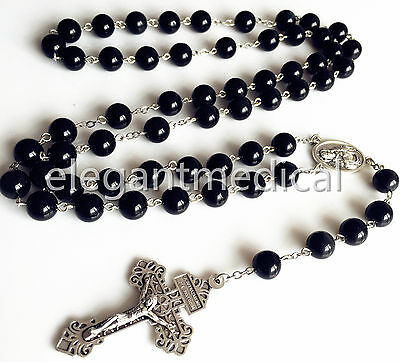 XL 10MM Black Obsidian BEAD 5 DECADE ROSARY CROSS Catholic NECKLACE Men's GIFT