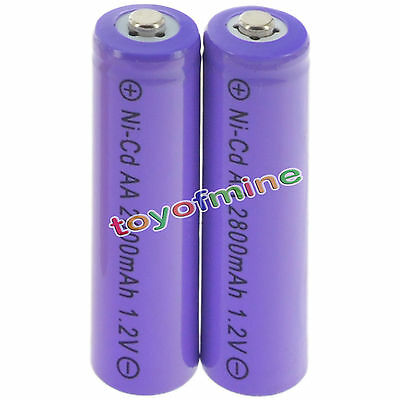 2 AA Random Rechargeable Batteries NiCd 2800mAh 1.2v Garden Solar Light Lamp