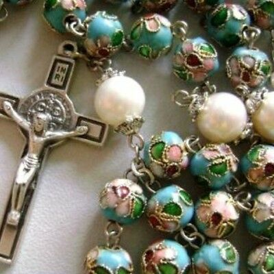 NICE Blue CLOISONNE & 10mm Pearl BEADS ROSARY NECKLACE Italy St.Benedict cross