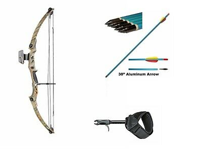 Compound Bow Adult Archery Set Kit 55lbs Camo Sight, Arrows, Rest, Release Aid