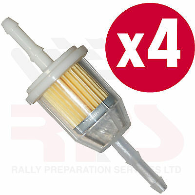 4 x Universal In Line Petrol Fuel Filter SMALL Fits 6-8mm Race Rally Road
