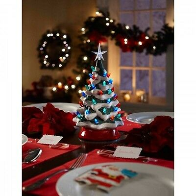 Ceramic Christmas Tree Vintage Tabletop Xmas LED Decoration Holiday Dinnerware