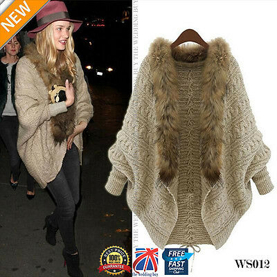 Women Loose Knitted Winter Batwing Cardigan Faux Fur Sweater Coats Jumpers WS012