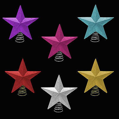 Christmas Decoration Glitter Tree Top Star on Spring (DP) - Choose Colour
