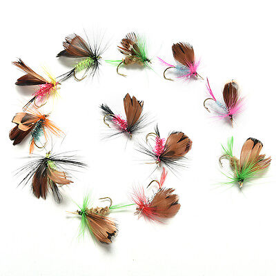 12Pcs Wet Dry Trout Flies Fly Fishing Bass Lure Hook Stream Vintage Tackle AU