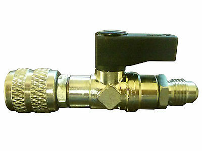 """Refrigerant Adapter 5/16"""" Female to 1/4"""" Male with Shut-off Valve"""