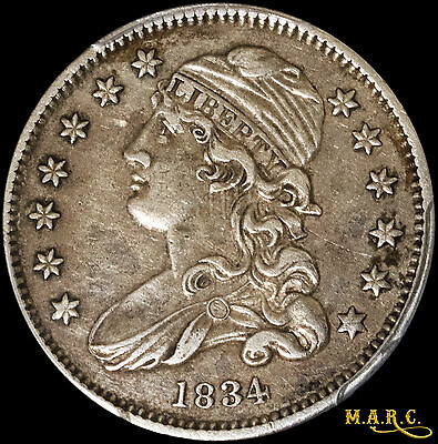 1834 XF40 PCGS 25C Capped Bust Quarter, Nice Eye Appeal, Great Type Coin, MARC