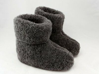 100% merino wool slippers in grey with anti-slip sole size 5 6 7 unisex