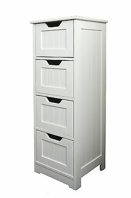 Bathroom Cabinet White Furniture 4 Drawers Storage Shaker Style