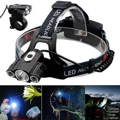 15000Lm Cree 3x T6 LED Rechargeable 18650 Outdoor Headlamp Headlight Head Torch