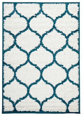 NEW Shadow Shag Rug White and Blue