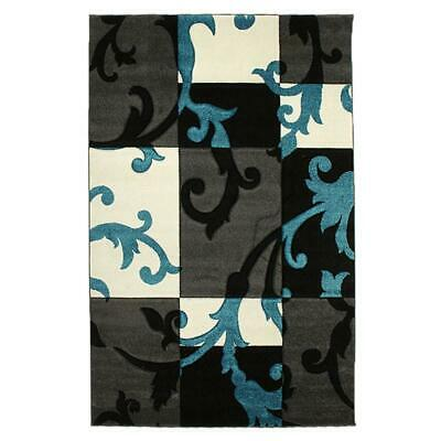 NEW Squares and Vines Rug Charcoal Blue
