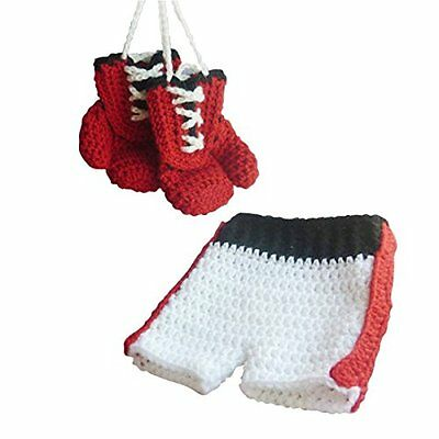 Jastore Newborn Baby Photography Prop Boy Boxing Costume Red Gloves Shorts