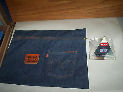 "Levi Strauss & Co. USA Denim Jeans Bag Zipper Patch Case & 4.5"" Paperweight Lot"