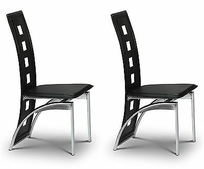 2x Dining Chairs Set Black Faux Leather Pair Dining Room Furniture Chrome Padded