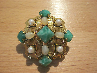 Christian Dior Vintage 1965 Germany, Peking glass diamond shaped cabachon brooch