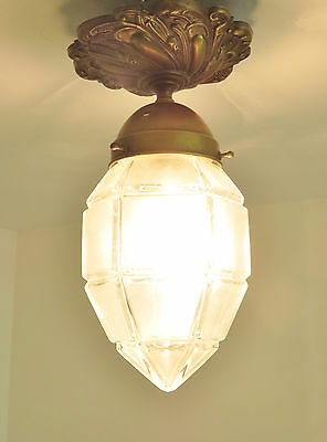 Superb Antique Ceiling Lantern Chandelier Light Repousse Brass French Circa 1920