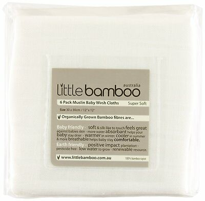 Little Bamboo Muslin Baby White Wash Cloths (Pack of 6)