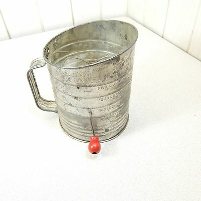 Vintage Bromwell's 5 Cup Flour Sifter Red Knob Made in U.S.A