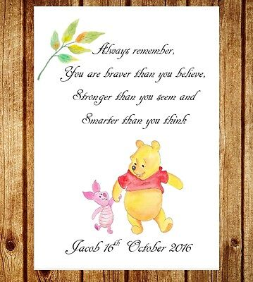 Personalised Winnie The Pooh Baby Children Kids Wall Print Picture Decoration