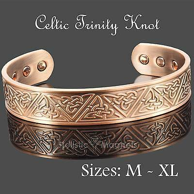 Copper Magnetic Bracelet Therapy & Pain Relief EXTRA WIDE - Celtic Trinity Knot