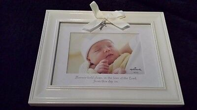 HALLMARK  Baby Picture Frame w/ Bow and Cross 4 X 6 Nice Baby Shower Gift ~NEW~