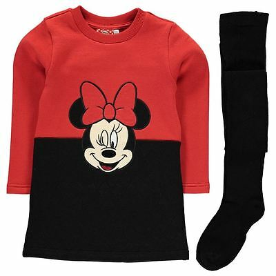 Girls Character Sweatshirt Dress & Tights Set Disney Minnie Mouse New With Tags