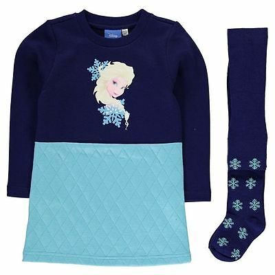 Girls Character Sweatshirt Dress & Tights Set Disney Frozen Elsa New With Tags
