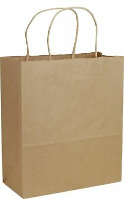 "250 Recycled Brown Paper Bags Kraft Paper Shoppers Cub 8 1/4x4 3/4x10 1/2"" 15-RK"