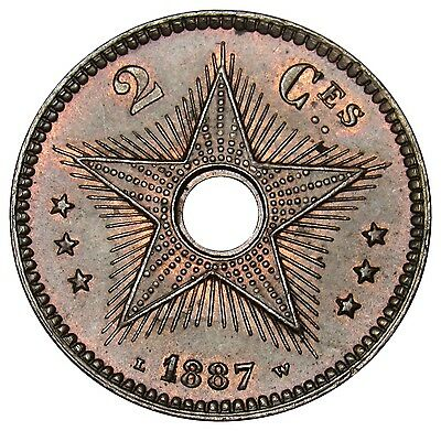 Congo Free State 2 Centimes coin 1887 KM#2 Great Shape!!! T001