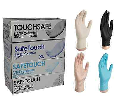 Powder Free Disposable Clear Vinyl, Black & White Latex Blue Nitrile Gloves 100