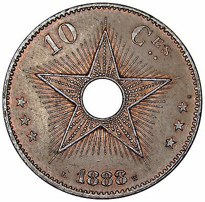 Congo Free State 10 Centimes coin 1888 KM#4 Great Shape!!! T001