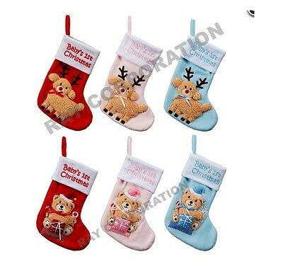 Baby's First Christmas Stocking- 3 COLOURS- 6 DESIGNS