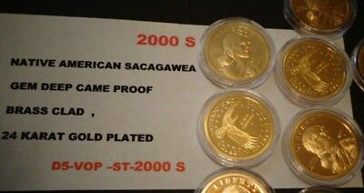 2000 S Native American,24 KT GOLD Sacagawea Dollar Deep Cameo GEM USA Proof Coin