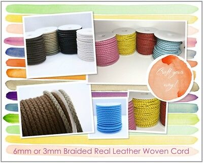 6mm or 3mm Braided Quality Real Leather Plaited Woven Braided Cord