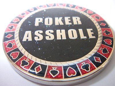 Poker A$$hole Double Sided Poker Card Guard Hand Protector Metal Coin NEW