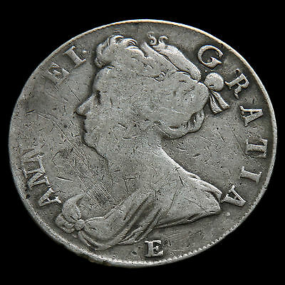 1708 Queen Anne Early Milled Silver Half Crown  #3