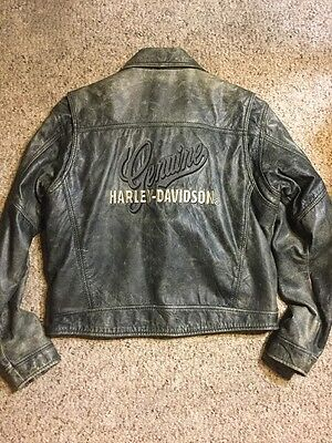 Rare Womens XL Harley Davidson Billings Factory Distressed Leather Jacket