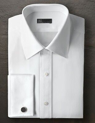 New Mens All Size White Tuxedo Shirt Broadcloth French Cuff Non Pleated Collar