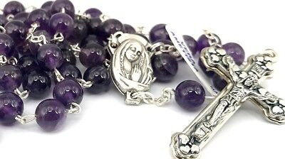 Amethyst Personalised Rosary Beads with your name in sterling silver