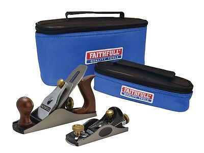 Faithfull FAIPLANE4AVB No.4 smoothing & 60.1/2 block plane set in carry bags