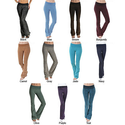 Mineral Washed Cotton Fitness Yoga Pants with Foldover Waistband High Quality