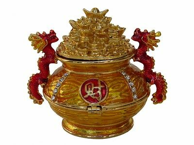 Feng Shui Bejeweled Wealth Pot with Dragons