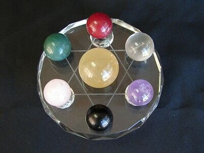 Feng Shui 7 Gemstone Balls on Star of David Crystal Base
