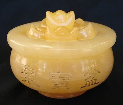 Feng Shui Yellow Jade Wealthy Pot with Ingots