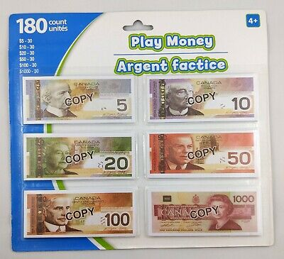 Canadian Canada Currency Play Money Paper Bills 180 Pieces