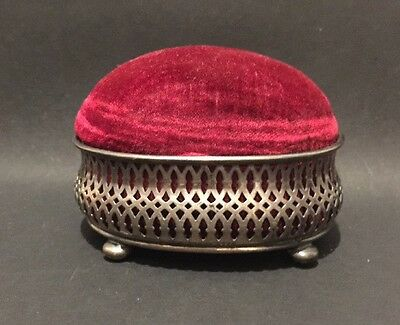Antique Sterling Silver And Velvet Pin Cushion And Tricketbox