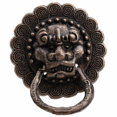 2/10pcs Antique Copper Lion Head Door Pull Ring Handle Jewelry Box Drawer Knobs