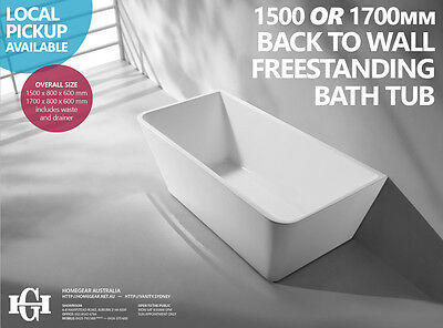 1500mm 1700mm Back to Wall Freestanding SQUARE Acrylic Bath Tub Free Standing